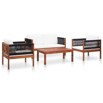 4 Piece Garden Lounge Set Solid Acacia Wood