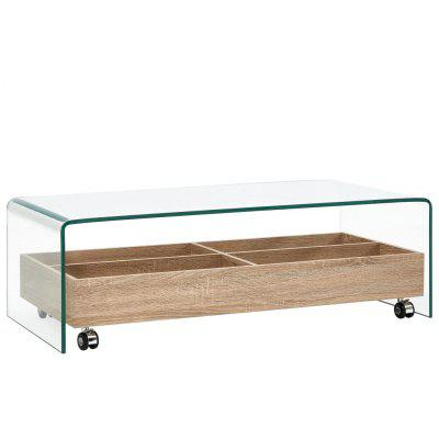 Coffee Table Clear 98x45x31 cm Tempered Glass