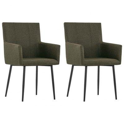 Dining Chairs with Armrests 2 pcs Brown Fabric