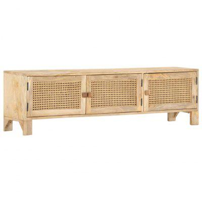 TV Cabinet 140x30x40 cm Solid Mango Wood and Natural Cane