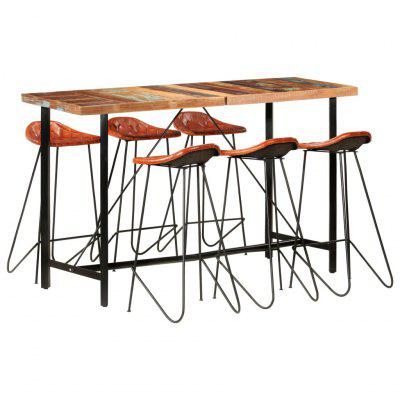 7 Piece Bar Set Solid Reclaimed Wood and Real Leather