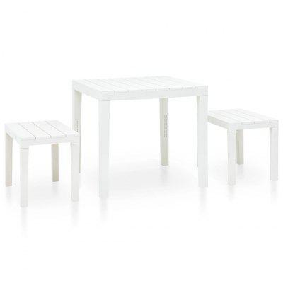 Garden Table with 2 Benches Plastic White