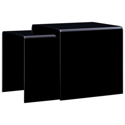Nesting Coffee Tables 2 pcs Black 42x42x41.5 cm Tempered Glass