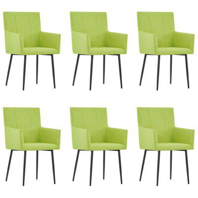 Dining Chairs with Armrests 6 pcs Green Fabric