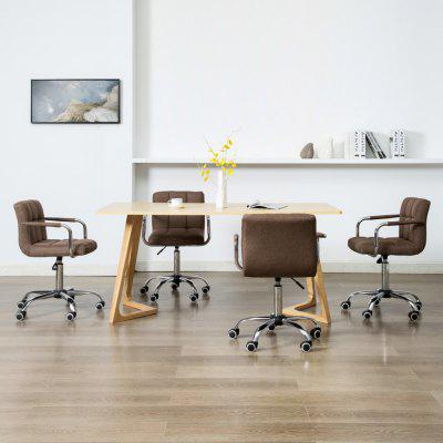 Swivel Dining Chairs 4 pcs Brown Fabric