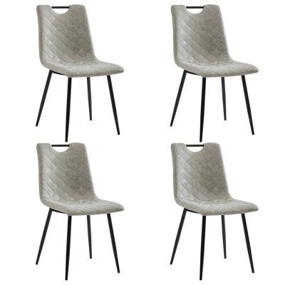 Dining Chairs 4 pcs Dark Grey Faux Leather