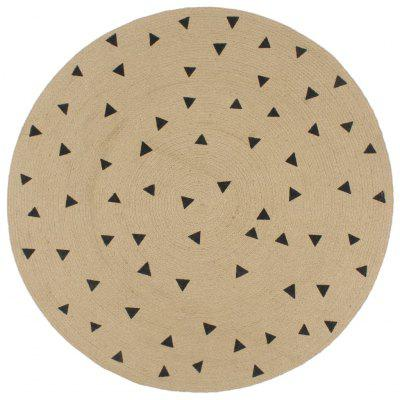 Handmade Rug Jute with Triangle Print 150 cm
