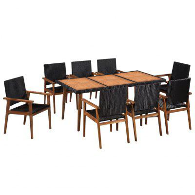 9 Piece Outdoor Dining Set Poly Rattan Black and Brown