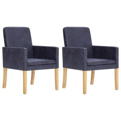 Armchairs 2 pcs Grey Faux Suede Leather