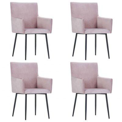 Dining Chairs with Armrests 4 pcs Pink Velvet