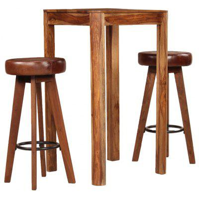 Bar Set 3 Pieces Solid Sheesham Wood Real Leather