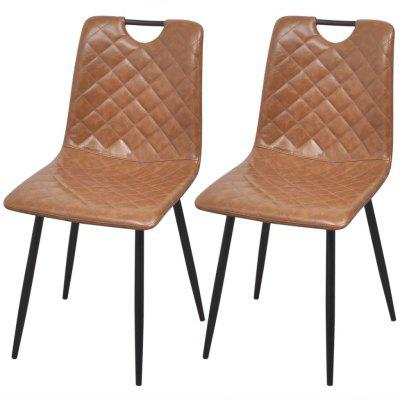 Dining Chairs 2 pcs Artificial Leather Light Brown