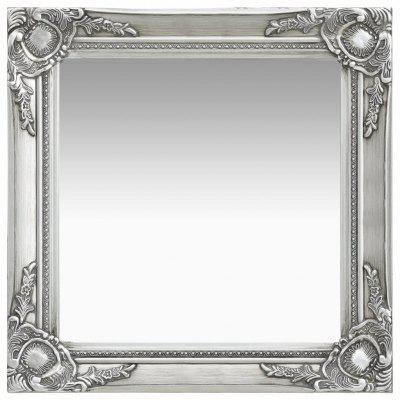 Wall Mirror Baroque Style 50x50 cm Silver