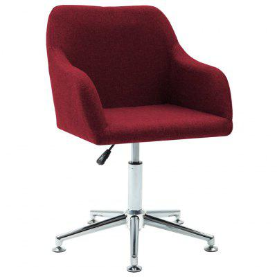Swivel Dining Chair Wine Red Fabric