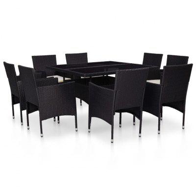 9 Piece Outdoor Dining Set Black Poly Rattan and Glass
