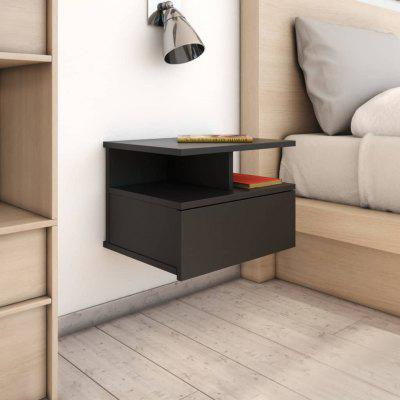 Floating Nightstand Black 40x31x27cm Chipboard