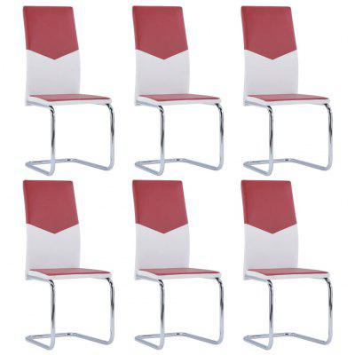 Cantilever Dining Chairs 6 pcs Wine Red Faux Leather