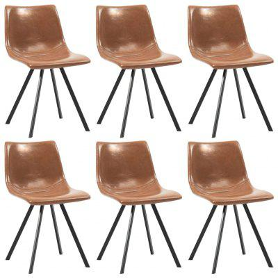 Dining Chairs 6 pcs Shiny Brown Faux Leather