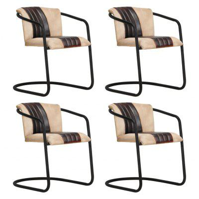 Dining Chairs 4 pcs Brown Real Leather