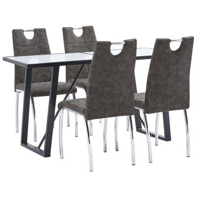 5 Piece Dining Set Brown Faux Leather