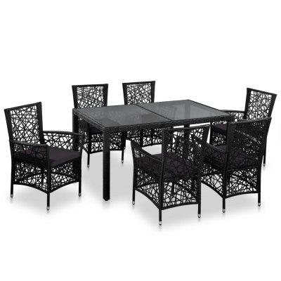 7 Piece Outdoor Dining Set Black Poly Rattan