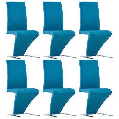 Dining Chairs with Zigzag Shape 6 pcs Blue Faux Leather