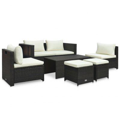 Garden Lounge Set with Cushions Poly Rattan  6 Pieces