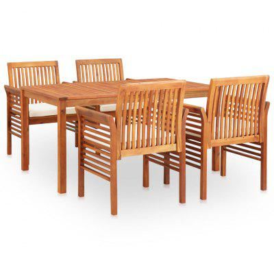 5 Piece Outdoor Dining Set with Cushions Solid Acacia Wood