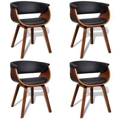 Modern Artificial Leather Wood Dining Chair 4 pcs