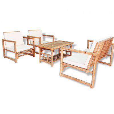 4 Piece Garden Lounge Set with Cushions Bamboo