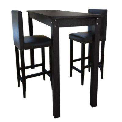Bar Table with set of 2 Chairs Black