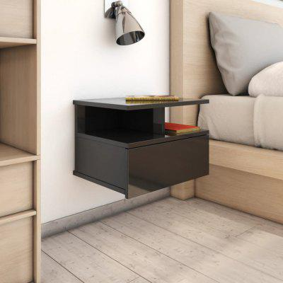 Floating Nightstands 2 pcs High Gloss Black 40x31x27 cm Chipboard