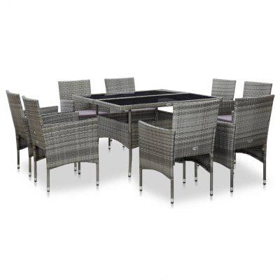 9 Piece Outdoor Dining Set Grey Poly Rattan and Glass