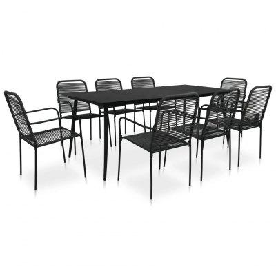 9 Piece Outdoor Dining Set Cotton Rope and Steel Black