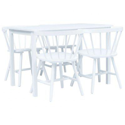 5 Piece Dining Set Solid Rubber Wood White