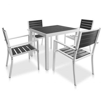 5 Piece Outdoor Dining Set with  WPC Tabletop Aluminium
