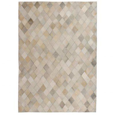 Rug Genuine Leather Patchwork 120x170 cm Diamond Grey