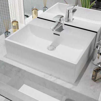 Basin with Faucet Hole Ceramic White 51.5x38.5x15 cm