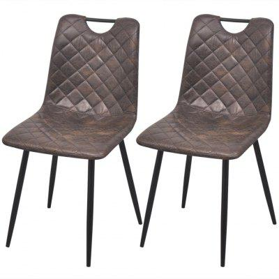 Dining Chairs 2 pcs Artificial Leather Dark Brown