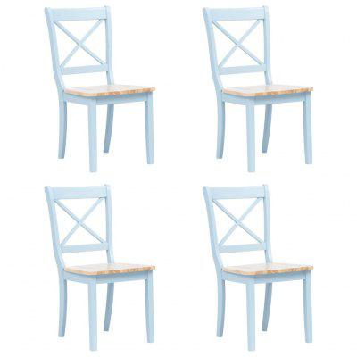 Dining Chairs 4 pcs Grey and Light Wood Solid Rubber