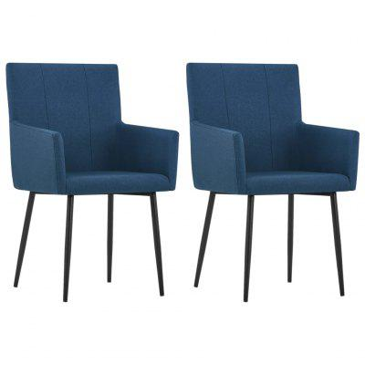 Dining Chairs with Armrests 2 pcs Blue Fabric