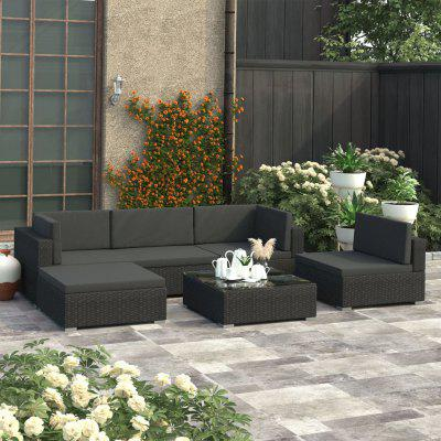 6 Piece Garden Lounge Set with Cushions  Poly Rattan