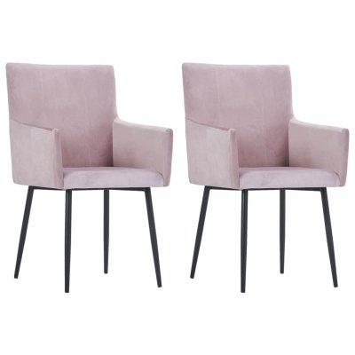 Фото - Dining Chairs with Armrests 2 pcs Pink Velvet diy decorative art nail tips pink 100 pcs
