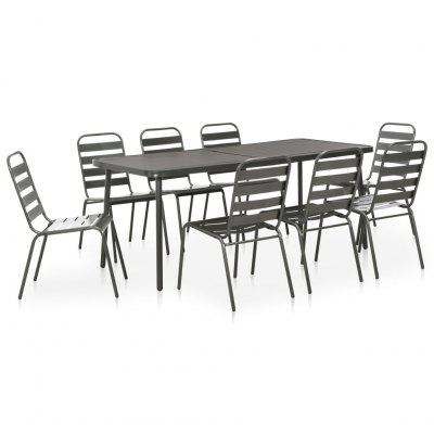 9 Piece Outdoor Dining Set Steel Dark Grey