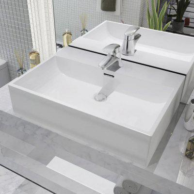 Basin with Faucet Hole Ceramic White 60.5x42.5x14.5 cm