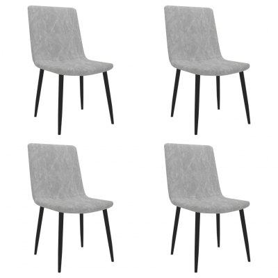 Dining Chairs 4 pcs Light Grey Faux Leather