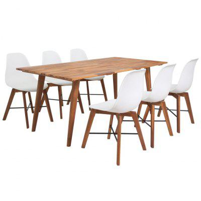 Seven Piece Solid Acacia Wooden Dining Set White