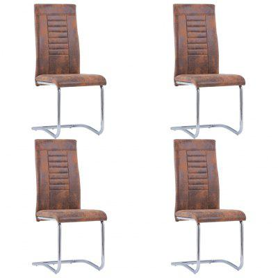 Cantilever Dining Chairs 4 pcs Brown Faux Suede Leather