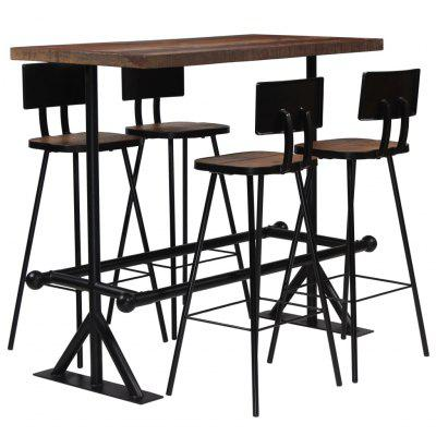 Bar Set 5 Piece Solid Reclaimed Wood