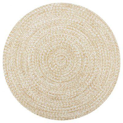 Handmade Rug Jute White and Natural 120 cm